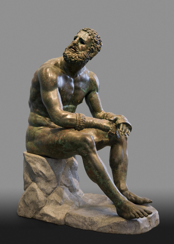 'Terme Boxer,' third century B.C., Rome, Museo Nazionale Romano di Palazzo Massimo. | One of the most famous ancient sculptures--a masterpiece of scarred and beaten realism.