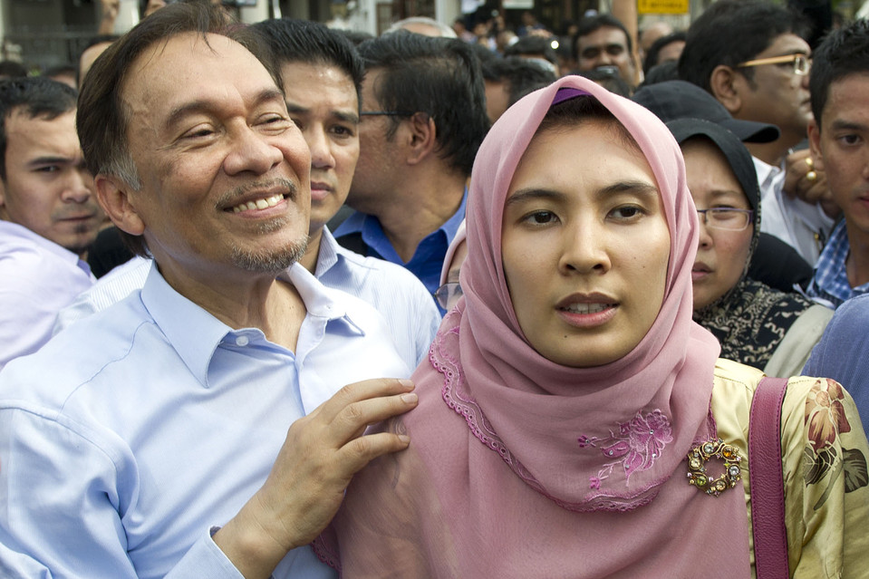 Malaysian opposition leader Anwar Ibrahim and his daugther Nurul Izzah in 2012.