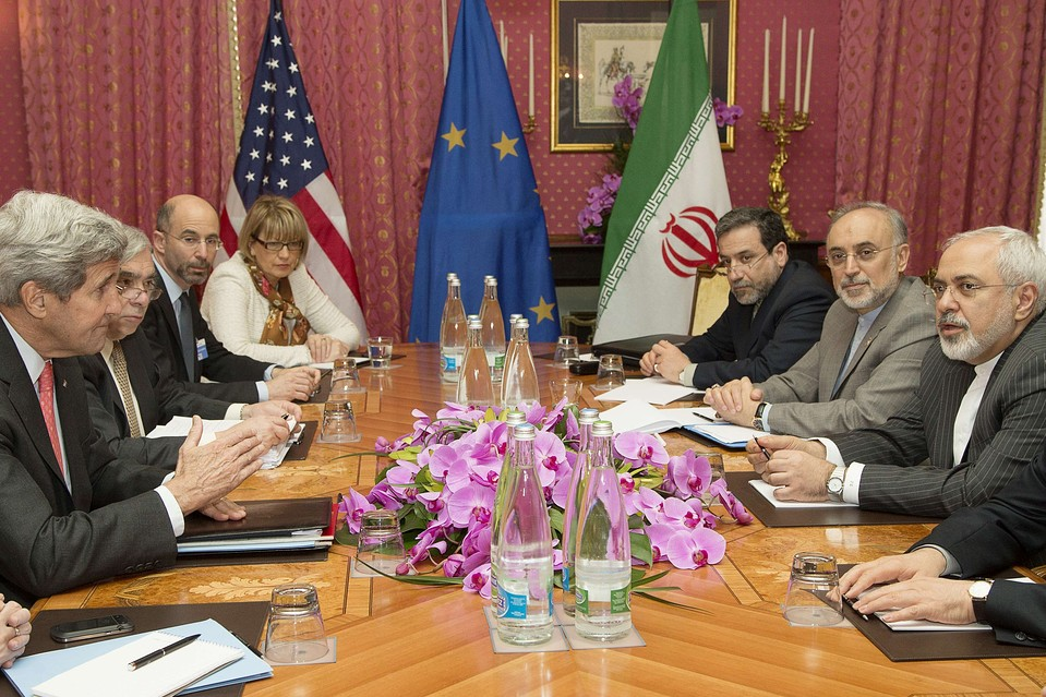 U.S. Secretary of State John Kerry, left, before a negotiation session with Iran's Foreign Minister Javad Zarif, right, over Iran's nuclear program in Lausanne, Switzerland on Friday.