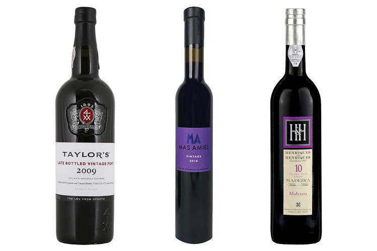 From left, 2009 Taylor's Late-Bottled Vintage Port; 2010 Mas Amiel Maury; Henriques & Henriques 10-Year-Old Malmsey