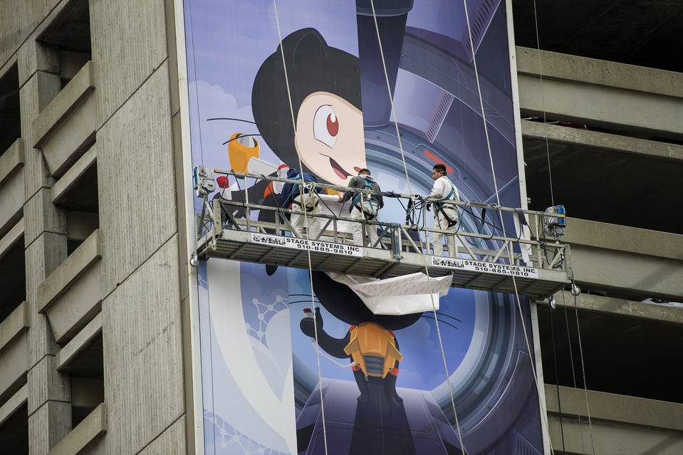 Workers installed a billboard for GitHub Inc. in San Francisco last November.
