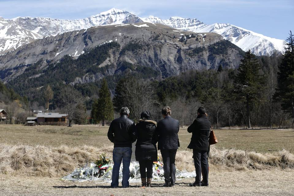 Relatives of the victims of last week's plane crash in the French Alps.