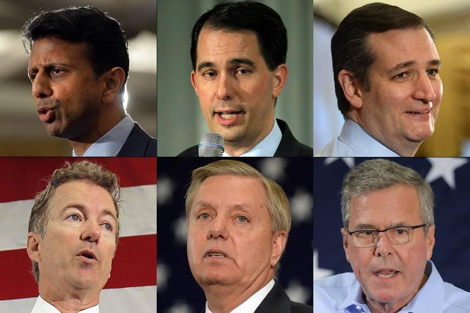 Clockwise from top left: Bobby Jindal, Scott Walker, Ted Cruz, Jeb Bush, Lindsey Graham and Rand Paul.