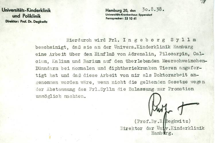 The original 1938 letter from Dr. Rapoport's professor saying she has submitted a doctoral dissertation that would be acceptable 'if the current laws regarding Fräulein Syllm's ancestry didn't make it impossible for her to be allowed to receive a doctorate.'