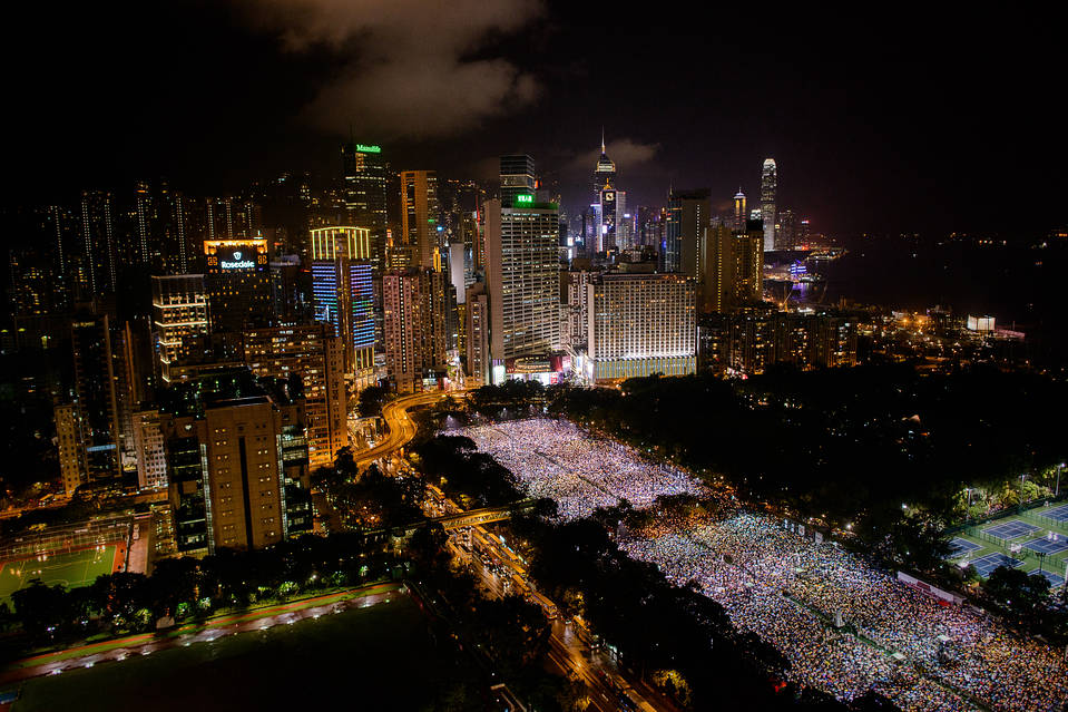 Hong Kongers have gathered in the city's Victoria Park for a quarter-century to mark the Tiananmen crackdown. Above, the vigil on June 4, 2013.