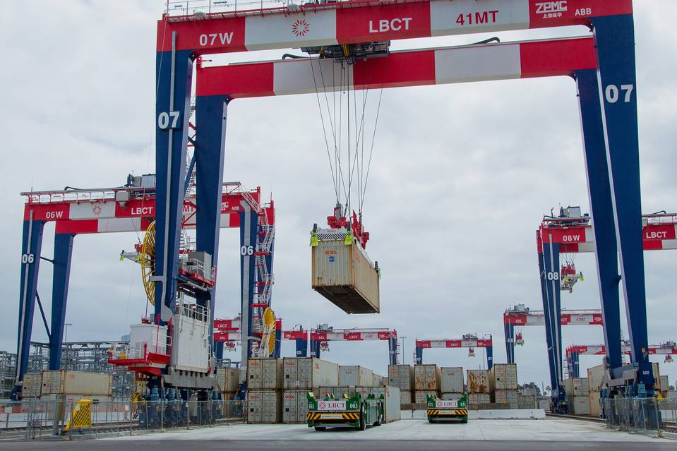 Containers are loaded at the Port of Long Beach