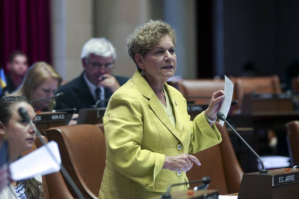 Assemblywoman Ellen Jaffee, D-Suffern, debates a bill for a state monitor for the East Ramapo schools in the Assembly Chamber at the Capitol on June 11.