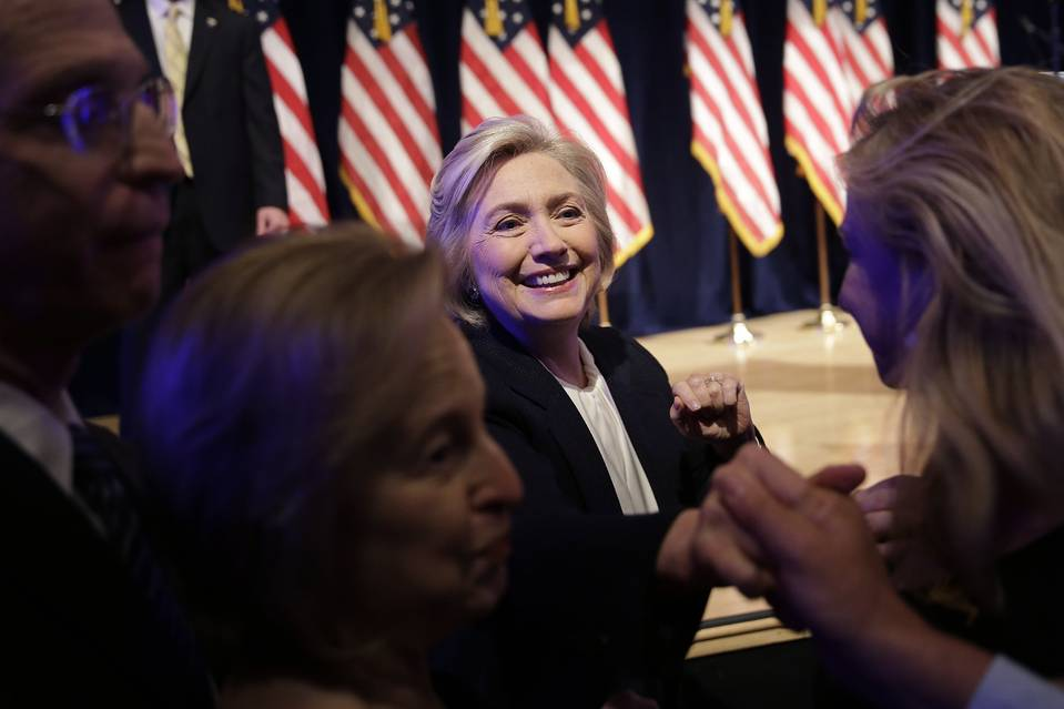 Democratic presidential candidate Hillary Rodham Clinton greets supporters after speaking at a campaign event in New York on Monday.