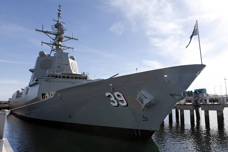 The HMAS Hobart at its launch in Adelaide in May; Australia plans a major naval buildup.