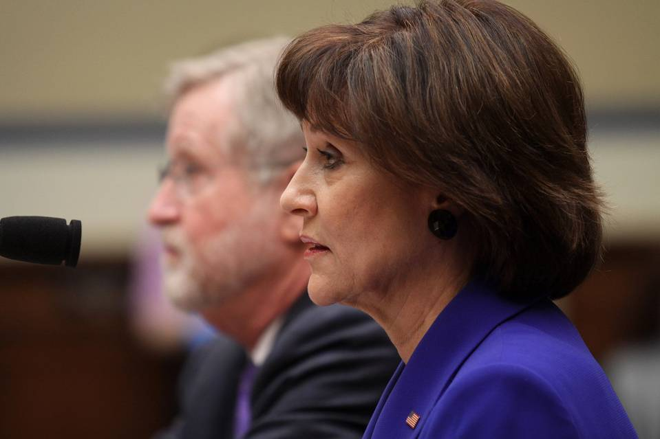 Former IRS official Lois Lerner on Capitol Hill in March 2014 during a House committee hearing.