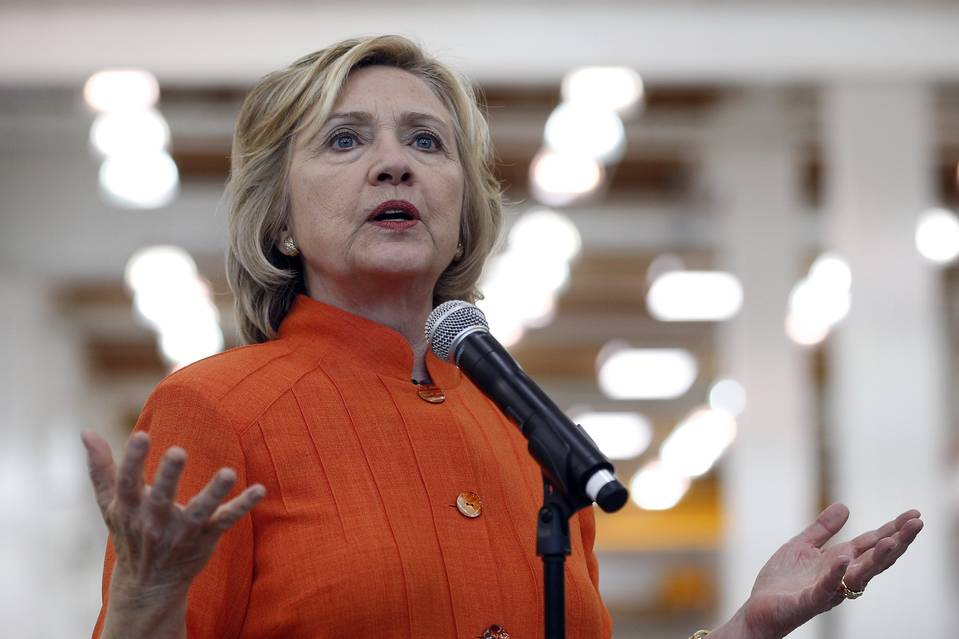 Democratic presidential candidate Hillary Clinton spoke while touring the Carpenters International Training Center in Las Vegas on Tuesday.