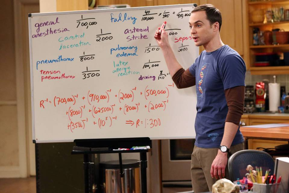 In an episode of 'The Big Bang Theory' last season, Sheldon, played by Jim Parsons, tries to talk his friend Leonard out of having surgery by demonstrating his probability of dying if things go wrong.