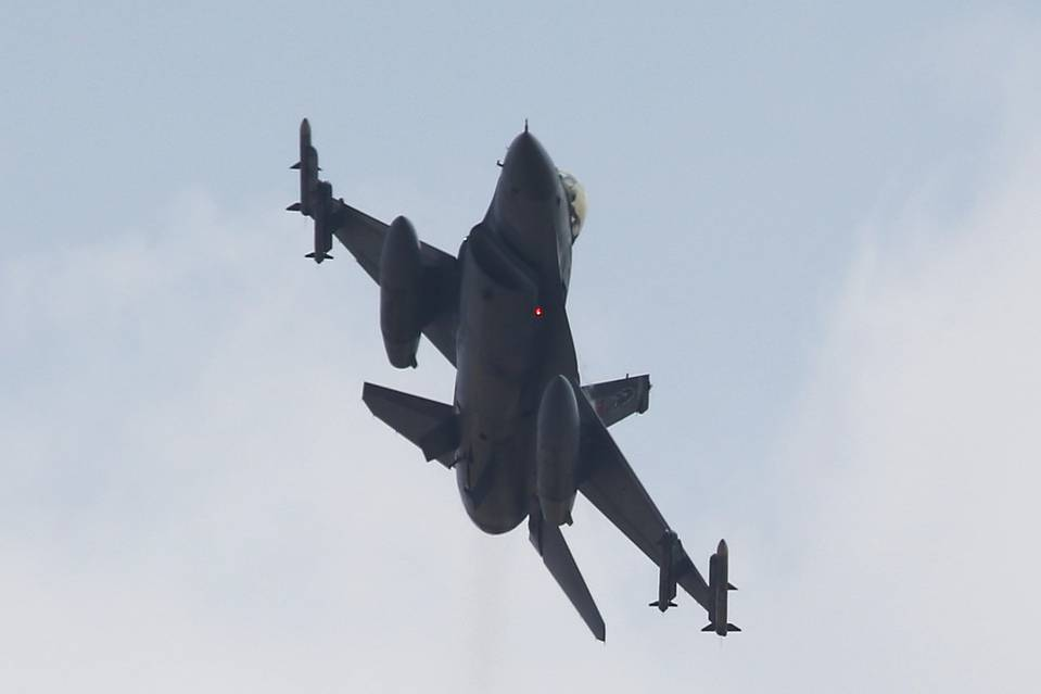 A Turkish F-16 jet takes off from Incirlik base in the southern city of Adana, on July 27. Turkey said Monday a Russian jet fighter violated its airspace with Syria over the weekend.