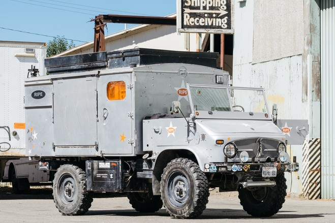 The Mog began life as a 1973 Mercedes Unimog 404. The vehicle was originally created as a military radio truck. On the Space Cowboy's website, it is now referred to as an All-Terrain Audio Visual Assault Vehicle (an ATAVAV).