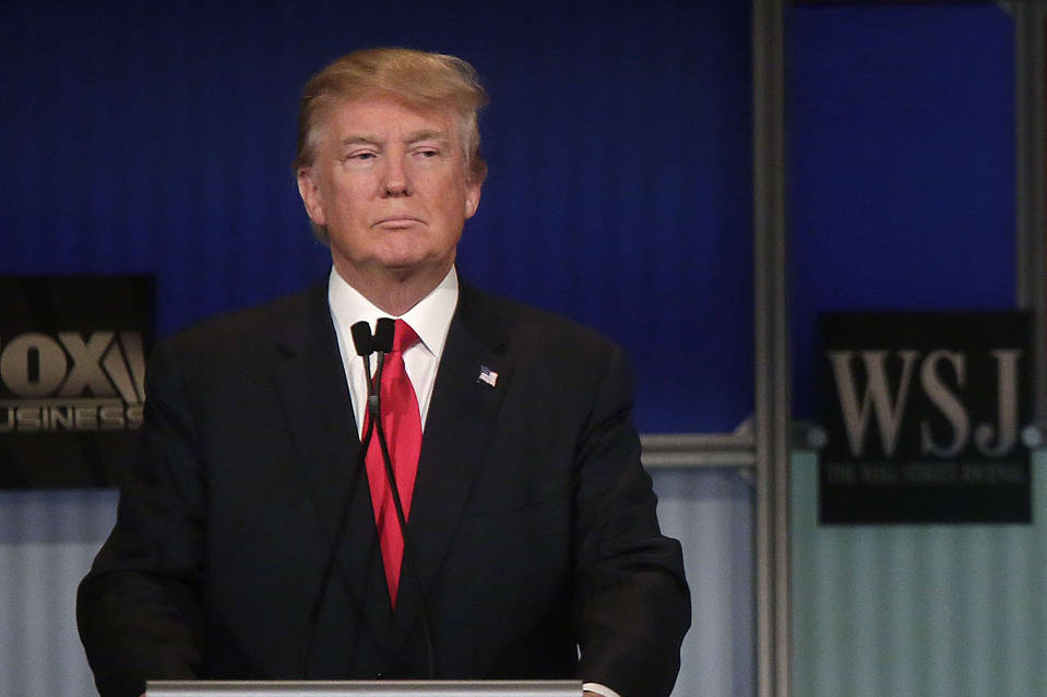 Republican presidential candidate Donald Trump at the Republican Presidential Debate hosted by Fox Business and The Wall Street Journal on November 10 in Milwaukee, Wisconsin.