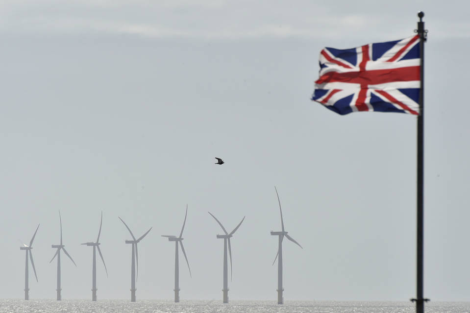 An off-shore wind farm is seen in the English Channel near Clacton-on-Sea in south east England.