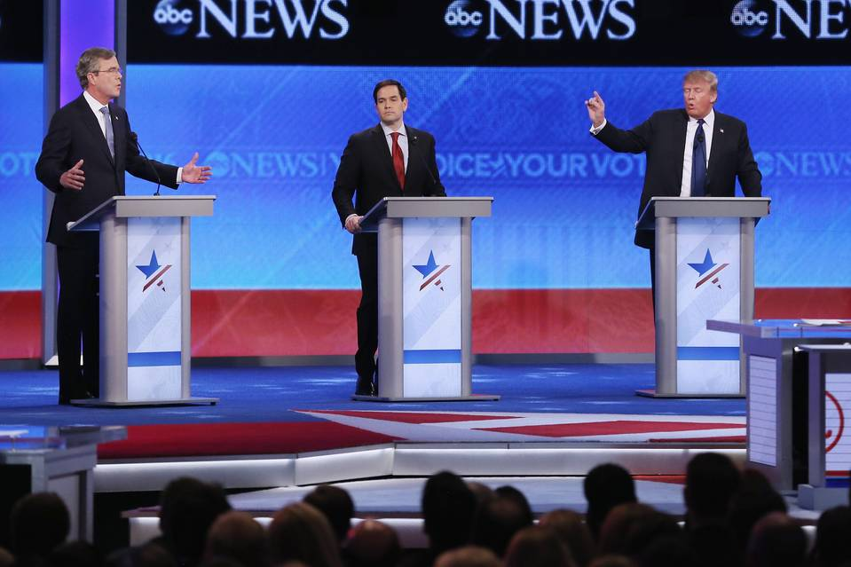 Republican presidential candidates Jeb Bush, Marco Rubio, and Donald Trump during Saturday's debate at St. Anselm College in Manchester, N.H.