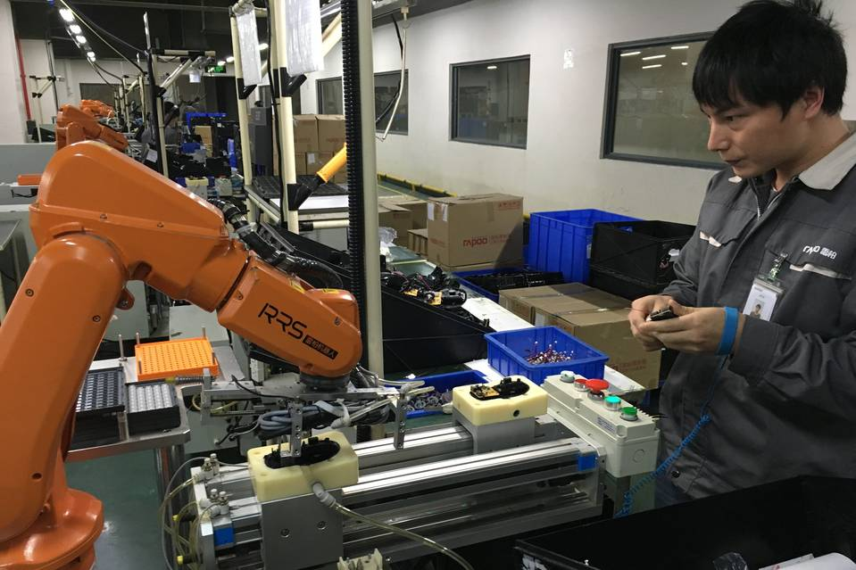 A Shenzhen Rapoo Technology Co. in Shenzhen, China, is using its manufacturing automation know-how to build high tech products like quadcopters as the market for its computer peripherals shrinks.