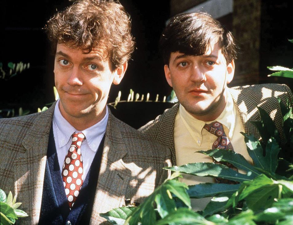 Hugh Laurie con su amigo Stephen Fry en 1991.