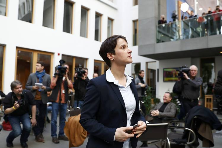Frauke Petry, chairwoman of the anti-immigration party Alternative for Germany arrives for a news conference in Berlin on Monday. Alternative for Germany's supportrepresents the highest total for a right-wing populist party in post-World War II elections in each of the states where elections were held.
