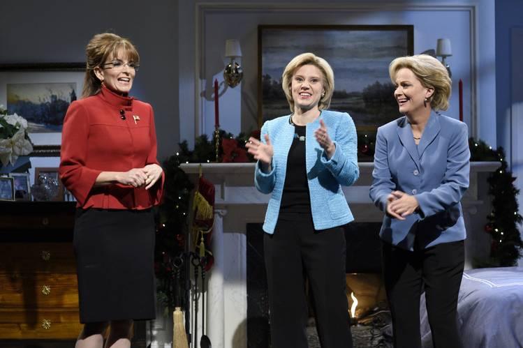 Tina Fey as Sarah Palin, Kate McKinnon as Hillary Clinton, and Amy Poehler as Hillary Clinton on 'Saturday Night Live' on Dec. 19, 2015