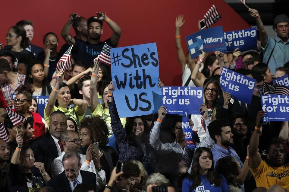 The poll shows the importance of young voters to Hillary Clinton's coalition heading into the November general election. Above, Clinton supporters in New York City on April 19.
