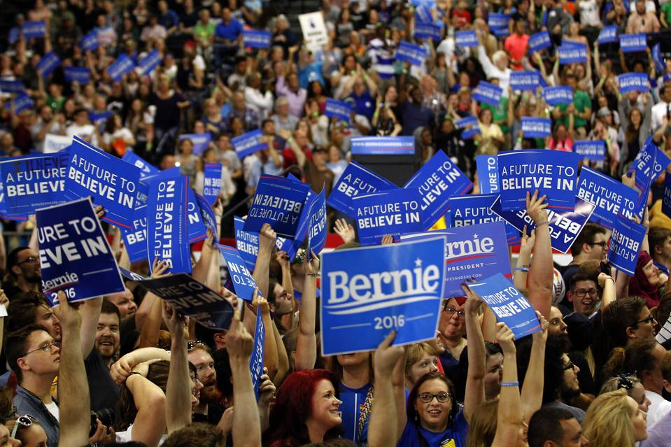 Bernie Sanders supporters cheer at campaign rally on April 26.