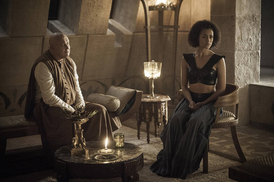 Conleth Hill and Nathalie Emmanuel in 'Game of Thrones.'