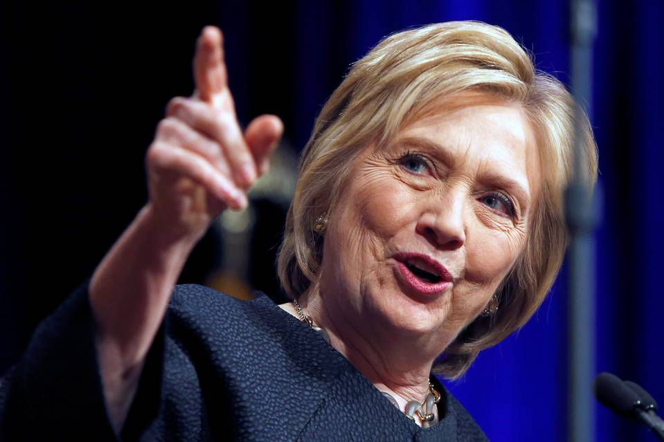 Hillary Clinton speaks to the attendees of the United Food & Commercial Workers convention in Las Vegas on Thursday.