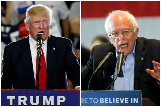 Associated Press photos of presidential candidates Donald Trump, left, and Bernie Sanders.