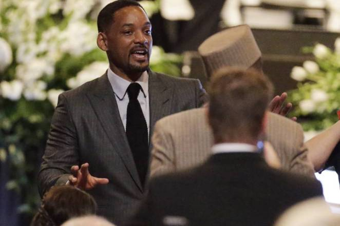 Actor Will Smith arrives for Ali's memorial service at the KFC Yum Center. Mr. Smith played the boxer in a 2001 film.