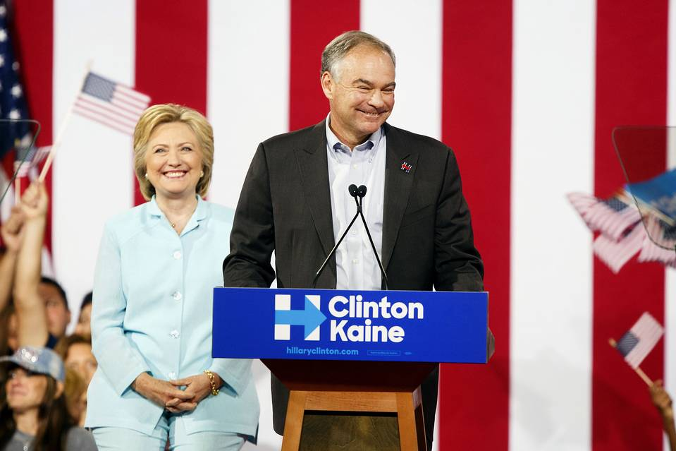 Sen. Tim Kaine on stage with Hillary Clinton during a campaign event in Miami on July 23.
