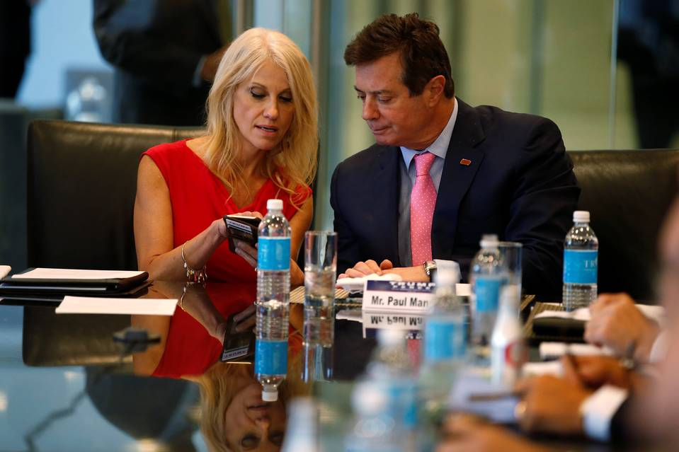 Kellyanne Conway, the new manager of Donald Trump's presidential campaign, and outgoing campaign chairman Paul Manafort during a meeting in New York on Aug. 17.