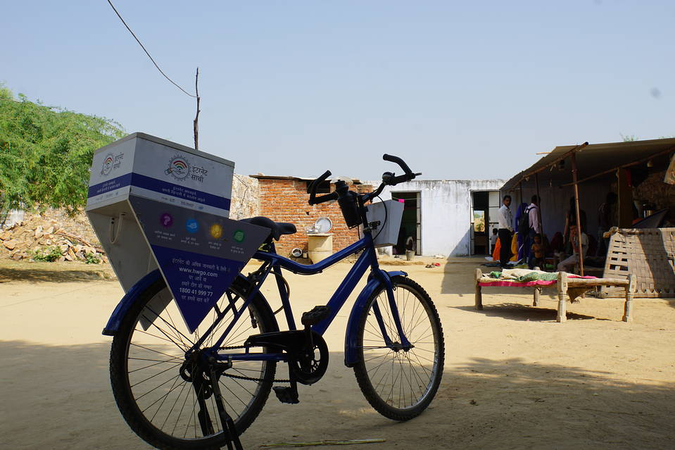 A bike used by an instructor who teaches women how to use the web, part of Internet Saathi, the joint program of Alphabet, Inc.'s Google and local philanthropy Tata Trusts, in the village of Habibwala, in Rajastan, India, Sept. 28, 2016.