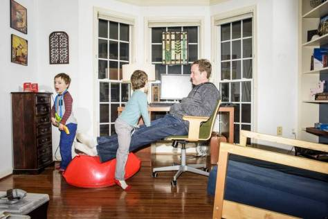 Dan Finkelstein, an online buyer of life insurance, plays with his children at home in Ellicott City, Md. In October, he went online to explore buying life insurance and was surprised it took only about 20 minutes to get a $750,000 policy. A year ago, it might have taken a month and required blood and urine samples and an analysis of his medical records.