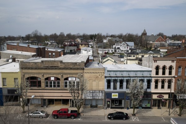 Downtown storefronts in Kenton, Ohio, population 8,200. The poverty rate in Hardin County has risen by 45% since 1980