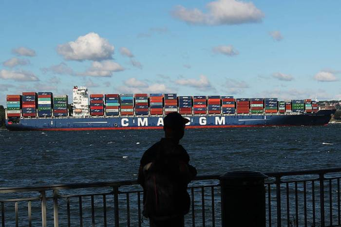 A container ship in New York harbor last year.