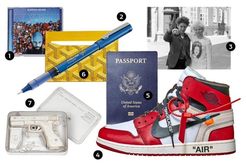 1. 'Electric Circus' by Common; 2. Pilot V7 pen; 3. Malcolm McLaren and Vivienne Westwood; 4. The Ten: Air Jordan I Sneaker; 5. Passport; 6. Goyard card holder; 7. A Tom Sachs sculpture