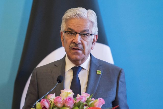 "Pakistani Foreign Minister Khawaja Muhammad Asif speaks to reporters with his Chinese and Afghan counterparts after the China-Afghanistan-Pakistan Foreign Ministers' Dialogue in Beijing in December. Mr. Asif on Friday said the U.S. was using Pakistan as a ""whipping boy"" for its own failures in Afghanistan."