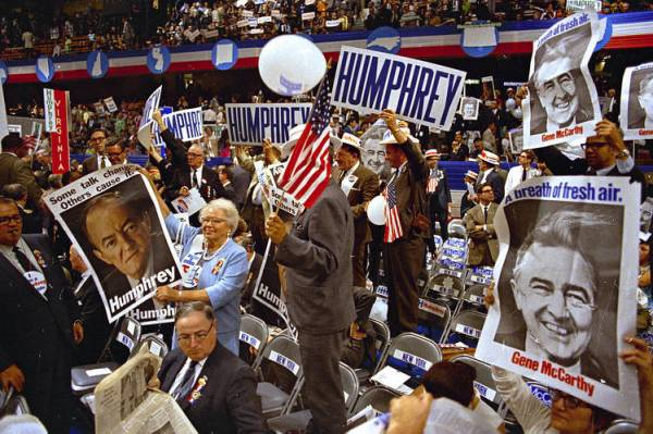 The Democratic Convention in Chicago was marked by chaos inside on Aug. 28, 1968, as delegates were fractured over the candidates and the party platform....