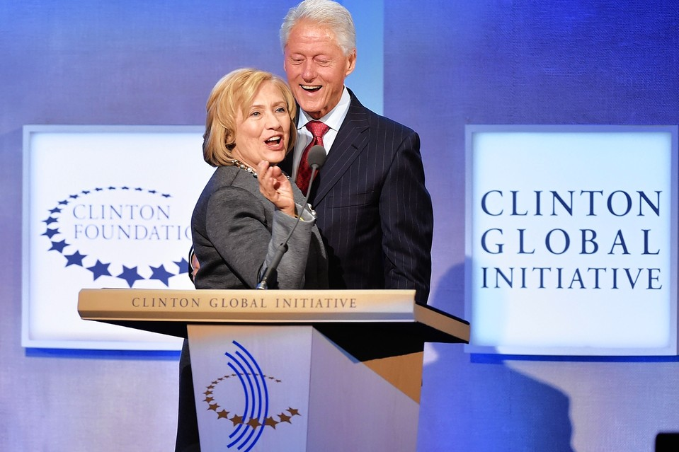 Hillary and Bill Clinton at a 2014 Clinton Global Initiative meeting.