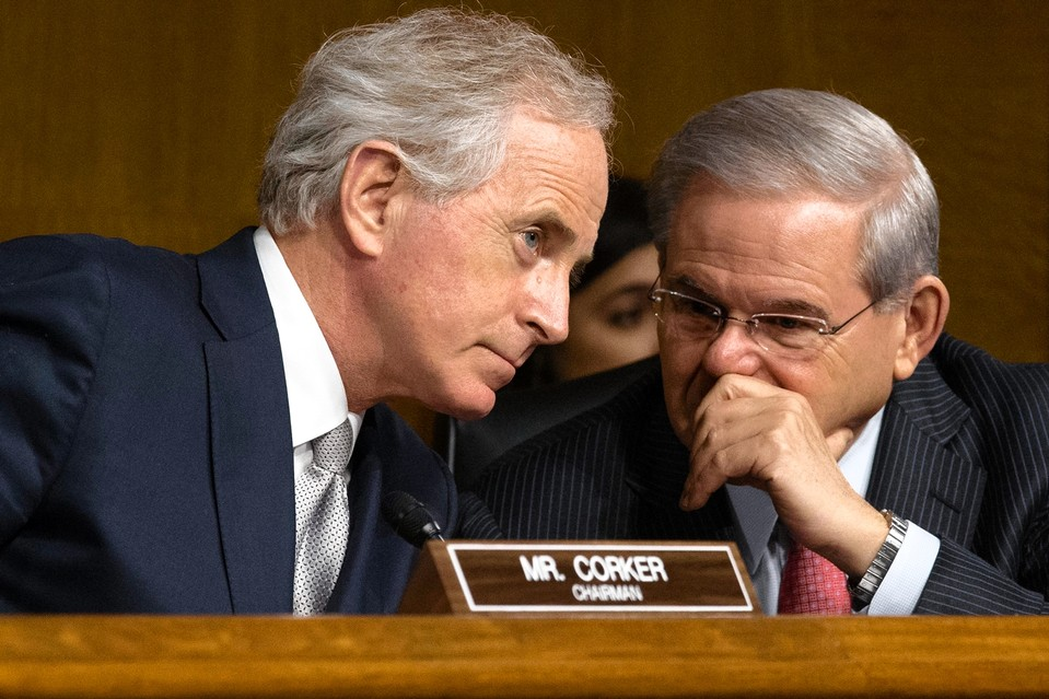 Senate Foreign Relations Committee Chairman Bob Corker (R., Tenn.), left, confers with Bob Menendez (D., N.J.) at a hearing on March 11.