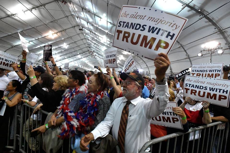 People cheer as Donald Trump speaks at the San Jose Convention Center in San Jose, Calif., on June 2.