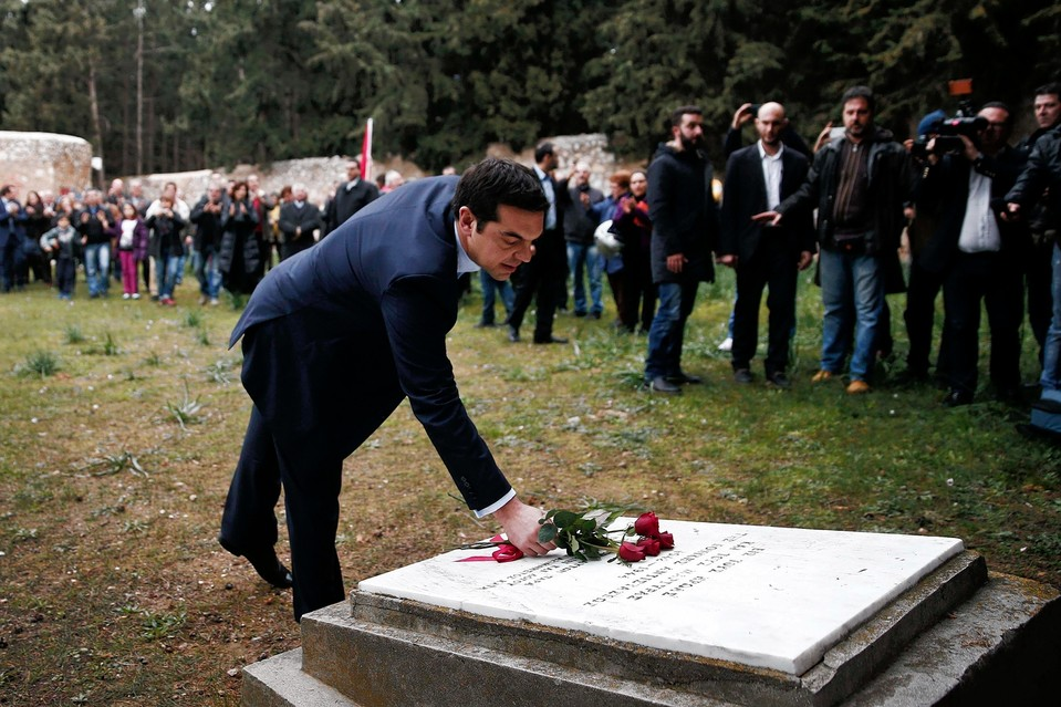 Greece's new Prime Minister Alexis Tsipras visits a shooting-range site on the outskirts of Athens in January. Members of the Greek Resistance were executed by Nazi occupation forces at the site during World War II.