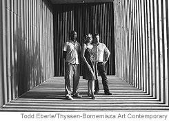 architect David Adjaye, collector Francesca von Habsburg and artist Olafur Eliassoninside the 'Your Black Horizon' pavilion commission.