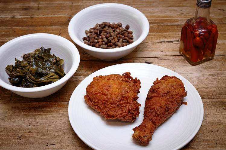 Fried chicken, collard greens and black-eyed peas at The Lockhart