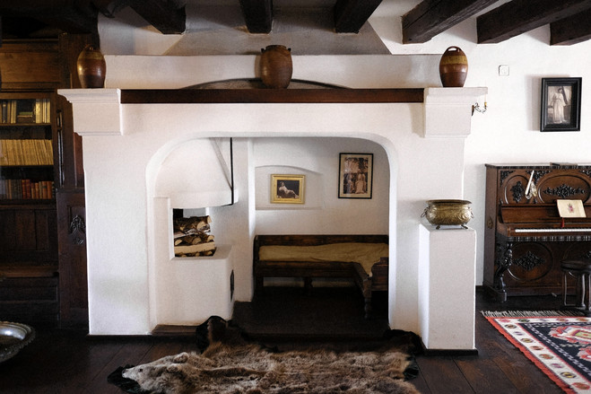 A living room in Bran Castle, a Transylvania property marketed as Count Dracula's castle. The home is for sale, initially listed for $78 million.