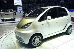 The Tata Nano EV car is displayed at the Geneva Car Show on Tuesday.