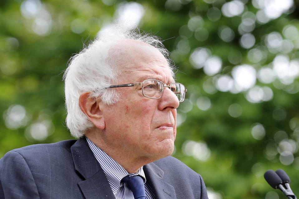 Sen. Bernie Sanders (I., Vt.) looks up to the crowd during a rally in Springfield, Ore., April 28, 2016.