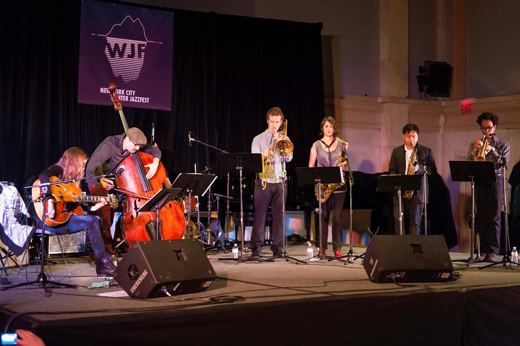 Mary Halvorson (left) leads her septet during the 2014 Winter Jazzfest.